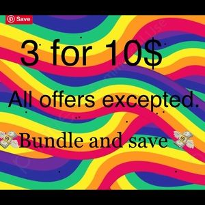 3 for 10 dollars bundle and save